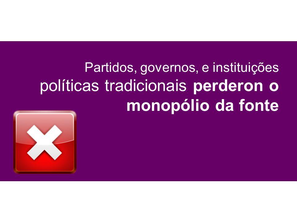 Partidos, governos, e instituições políticas tradicionais perderon o monopólio da fonte