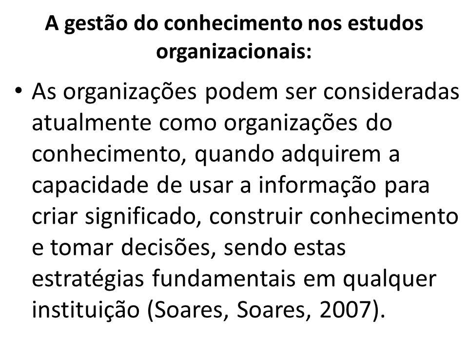 A gestão do conhecimento nos estudos organizacionais: