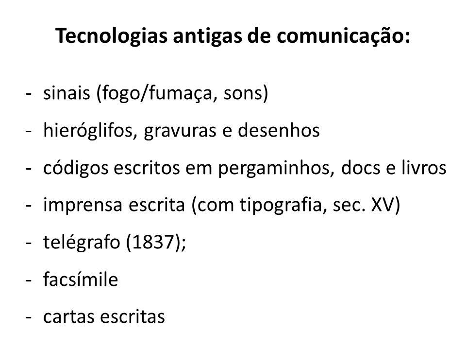 Tecnologias antigas de comunicação:
