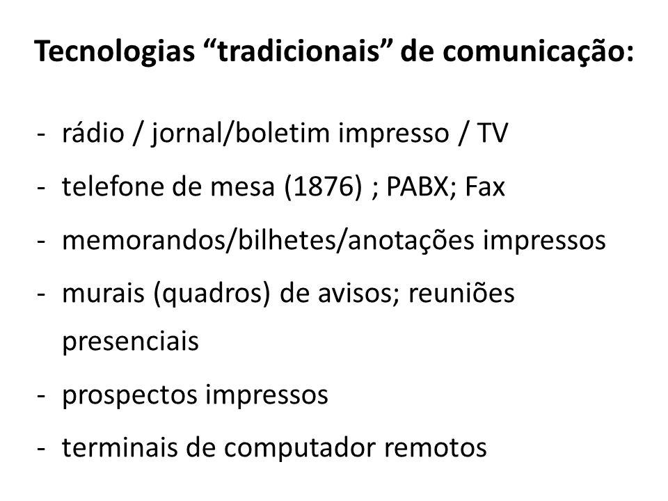 Tecnologias tradicionais de comunicação: