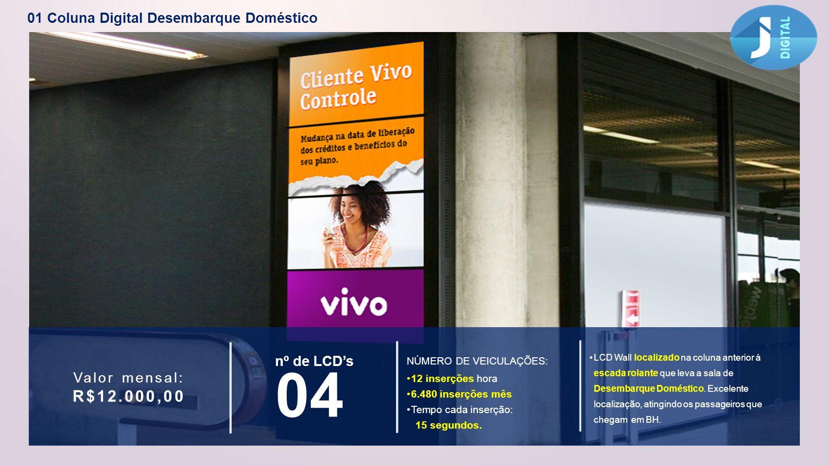 04 R$12.000,00 01 Coluna Digital Desembarque Doméstico nº de LCD's