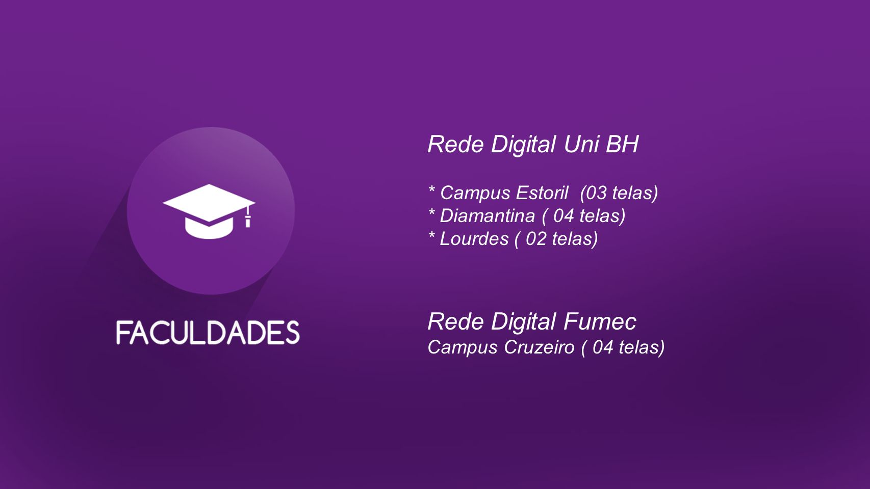 Rede Digital Uni BH Rede Digital Fumec * Campus Estoril (03 telas)