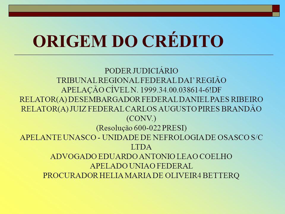 ORIGEM DO CRÉDITO PODER JUDICIÁRIO