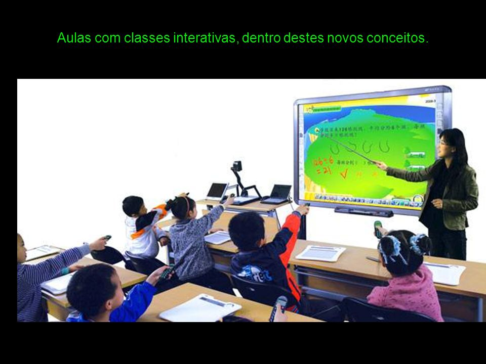 Aulas com classes interativas, dentro destes novos conceitos.