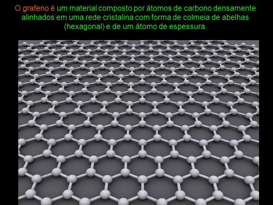 O grafeno é um material composto por átomos de carbono densamente alinhados em uma rede cristalina com forma de colmeia de abelhas (hexagonal) e de um átomo de espessura.