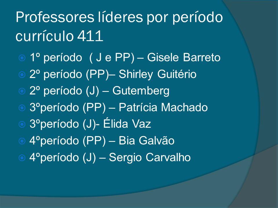 Professores líderes por período currículo 411