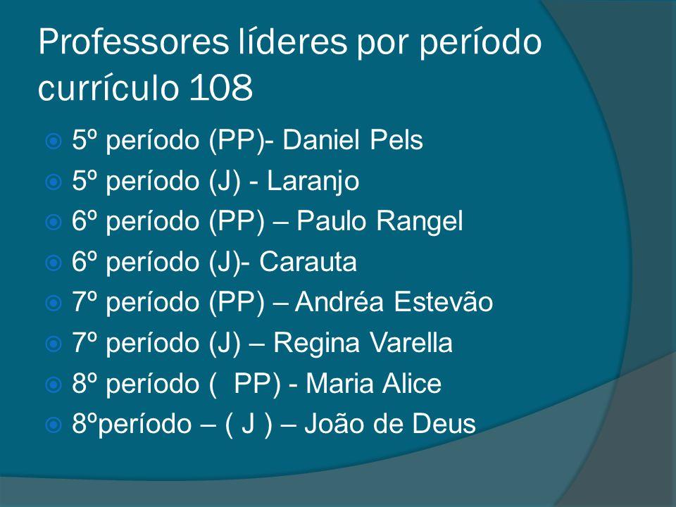 Professores líderes por período currículo 108