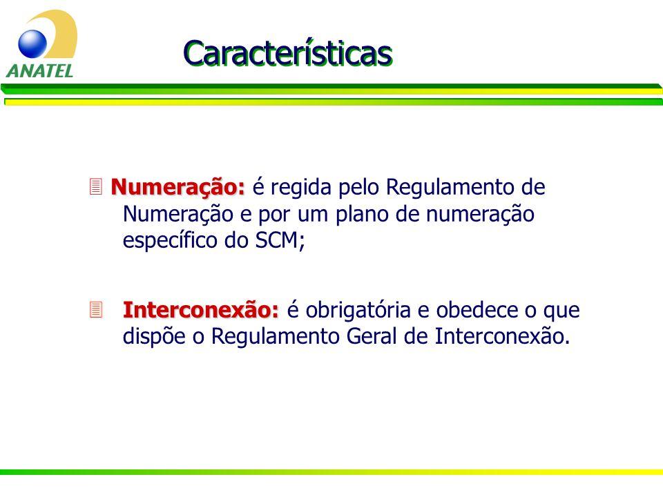 Características  Numeração: é regida pelo Regulamento de Numeração e por um plano de numeração específico do SCM;