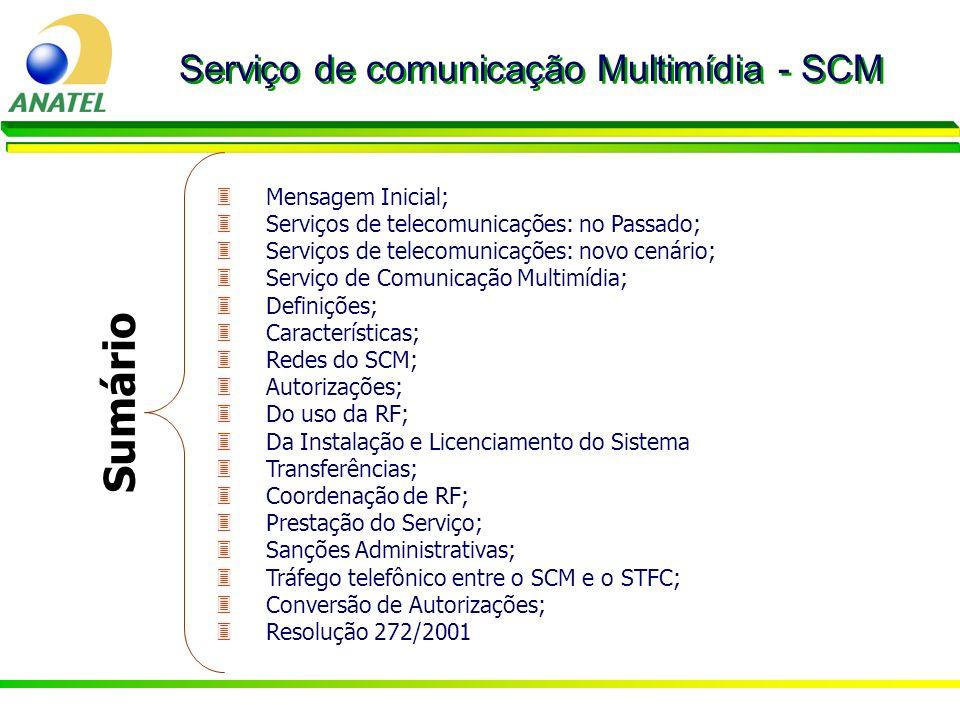 Sumário Serviço de comunicação Multimídia - SCM Mensagem Inicial;