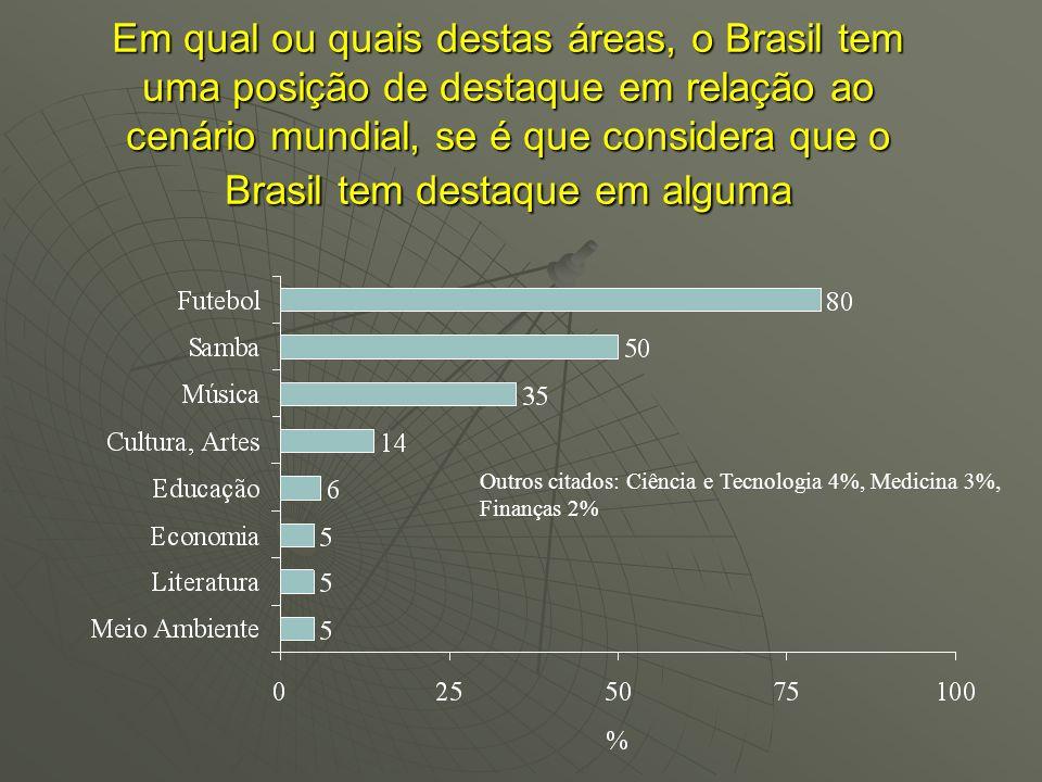 Em qual ou quais destas áreas, o Brasil tem uma posição de destaque em relação ao cenário mundial, se é que considera que o Brasil tem destaque em alguma