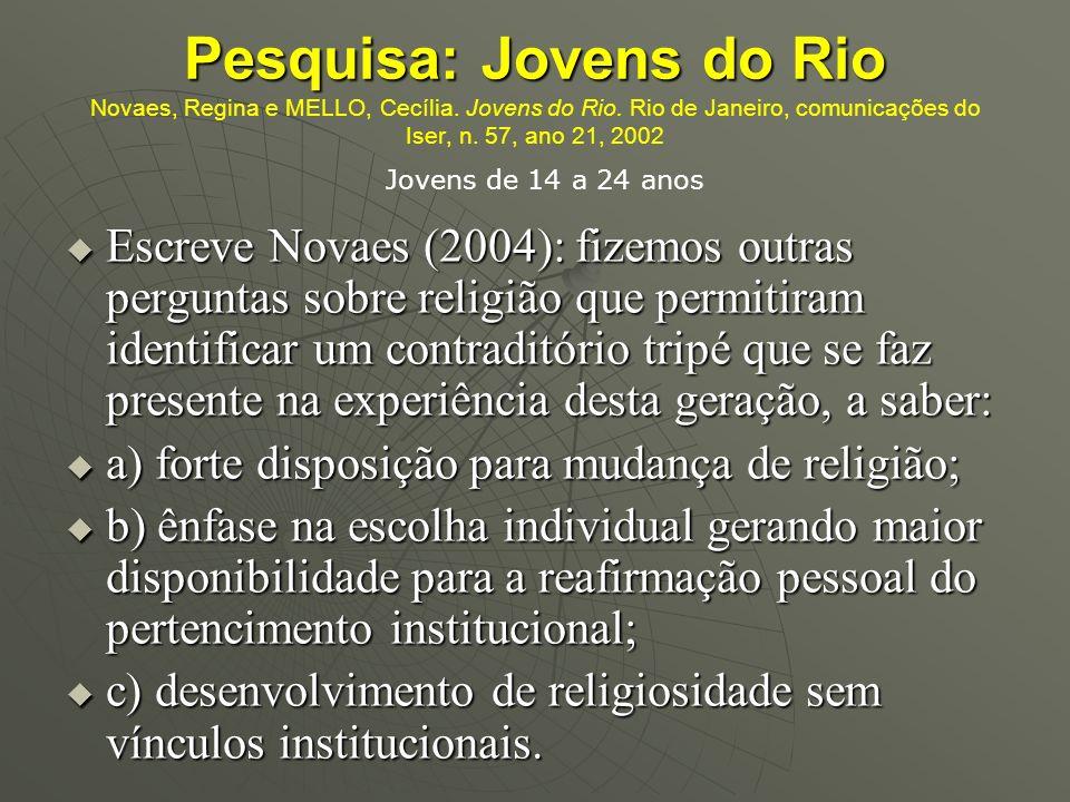 Pesquisa: Jovens do Rio Novaes, Regina e MELLO, Cecília. Jovens do Rio