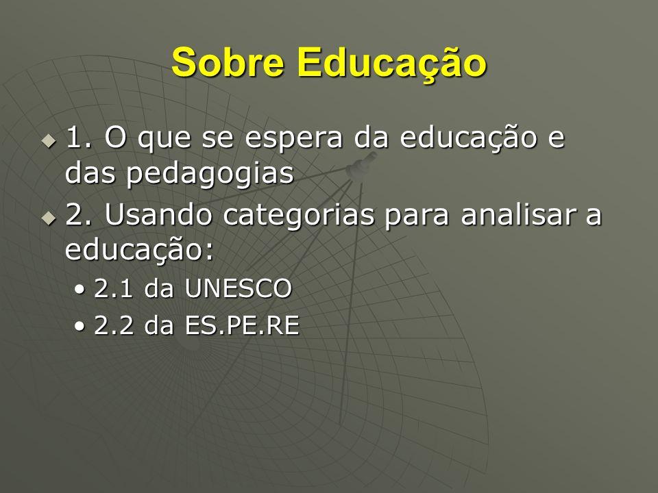 Sobre Educação 1. O que se espera da educação e das pedagogias
