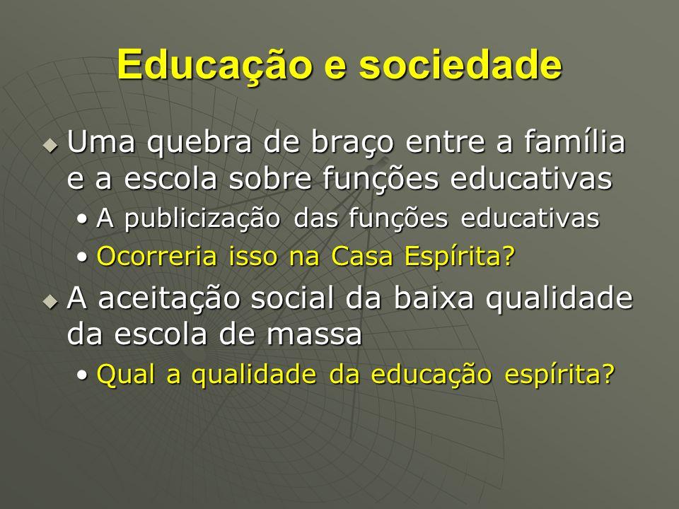 Educação e sociedade Uma quebra de braço entre a família e a escola sobre funções educativas. A publicização das funções educativas.