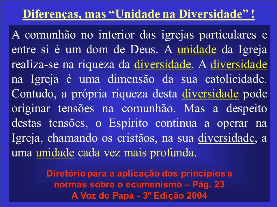 Diferenças, mas Unidade na Diversidade !