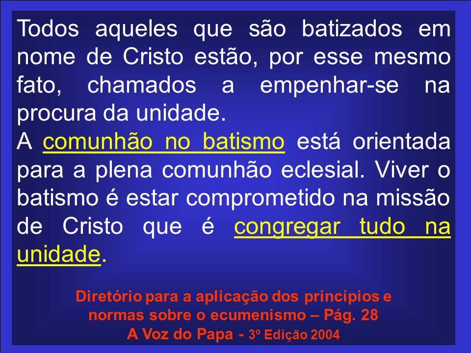 Todos aqueles que são batizados em nome de Cristo estão, por esse mesmo fato, chamados a empenhar-se na procura da unidade.