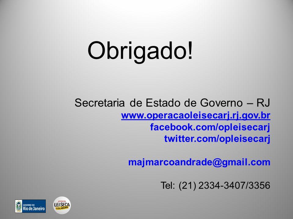 Obrigado! Secretaria de Estado de Governo – RJ
