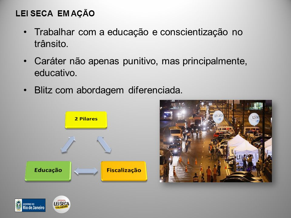 Trabalhar com a educação e conscientização no trânsito.