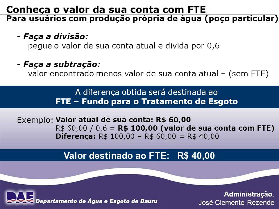 Valor destinado ao FTE: R$ 40,00