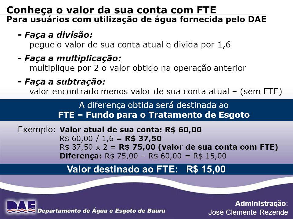 Valor destinado ao FTE: R$ 15,00