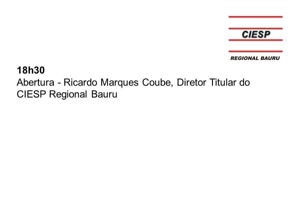 18h30 Abertura - Ricardo Marques Coube, Diretor Titular do CIESP Regional Bauru