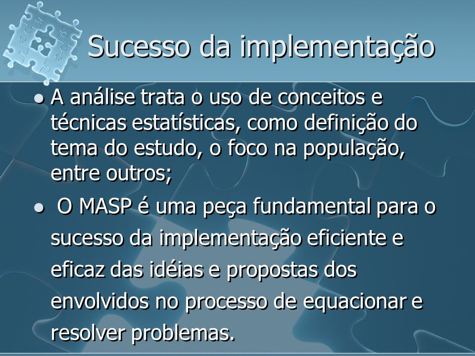 Sucesso da implementação