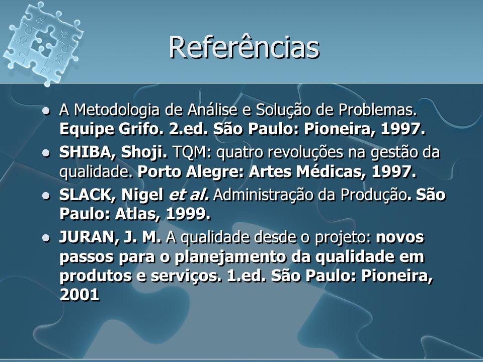 Referências A Metodologia de Análise e Solução de Problemas. Equipe Grifo. 2.ed. São Paulo: Pioneira, 1997.