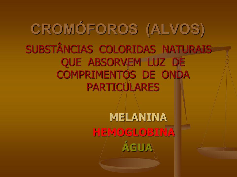 CROMÓFOROS (ALVOS) SUBSTÂNCIAS COLORIDAS NATURAIS QUE ABSORVEM LUZ DE COMPRIMENTOS DE ONDA PARTICULARES.