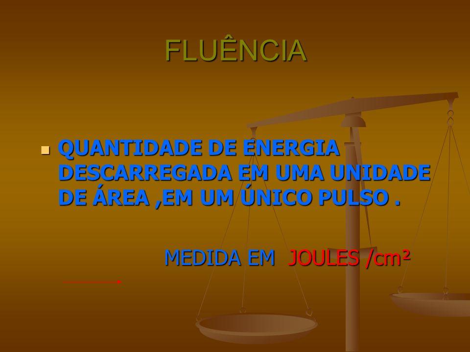 FLUÊNCIA QUANTIDADE DE ENERGIA DESCARREGADA EM UMA UNIDADE DE ÁREA ,EM UM ÚNICO PULSO .
