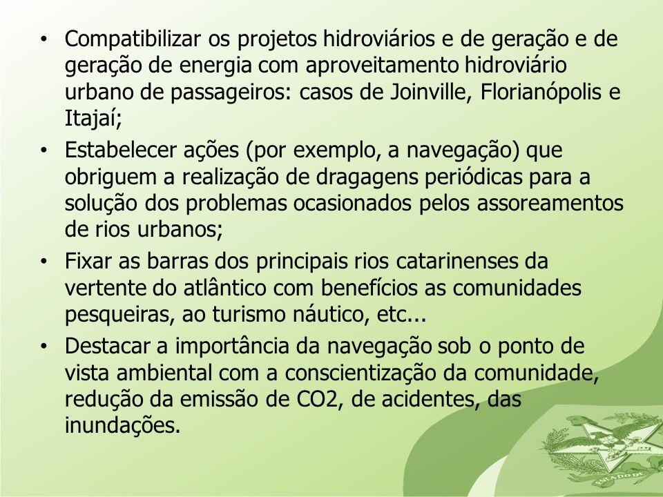 Compatibilizar os projetos hidroviários e de geração e de geração de energia com aproveitamento hidroviário urbano de passageiros: casos de Joinville, Florianópolis e Itajaí;