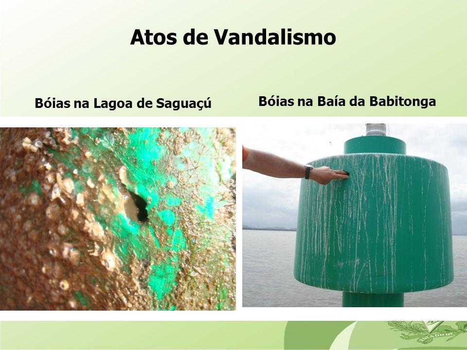 Bóias na Lagoa de Saguaçú Bóias na Baía da Babitonga