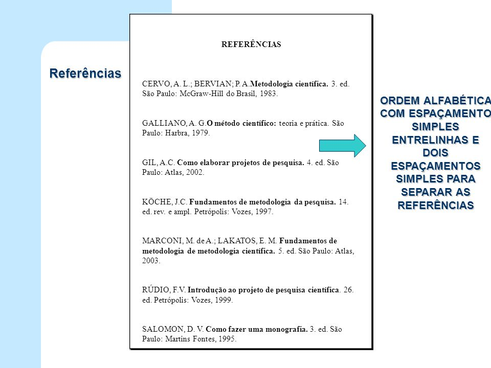 REFERÊNCIAS CERVO, A. L.; BERVIAN; P. A.Metodologia científica. 3. ed. São Paulo: McGraw-Hill do Brasil, 1983.