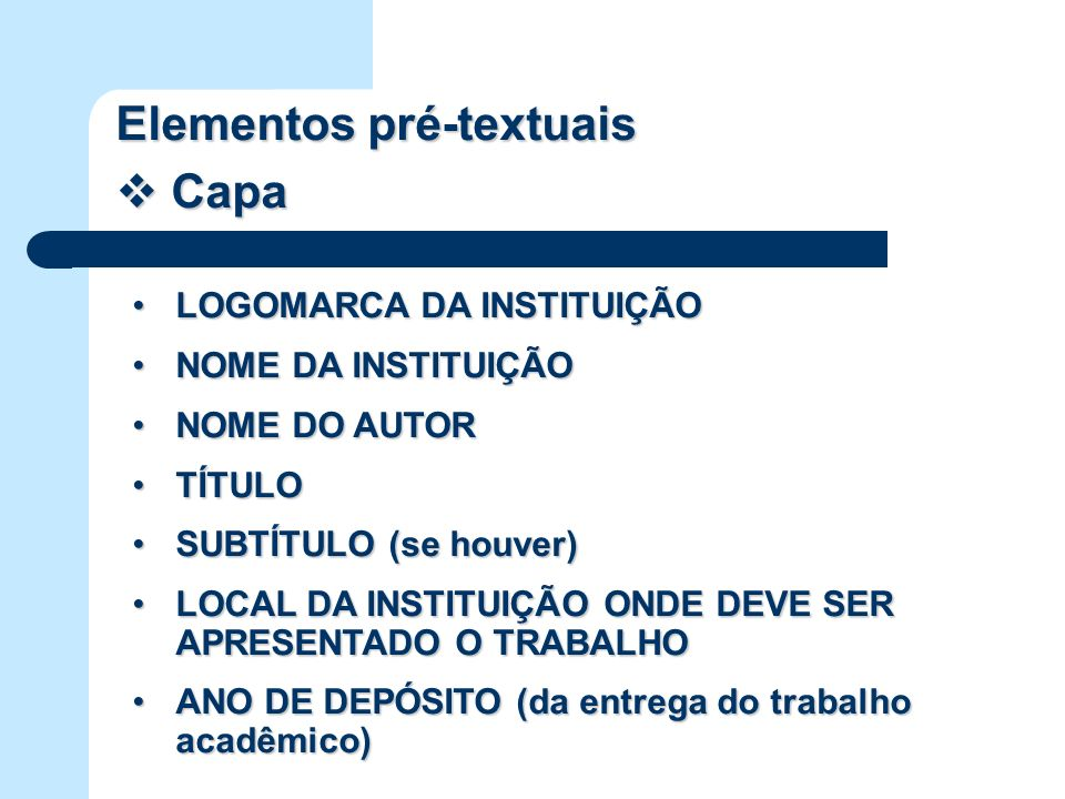 Elementos pré-textuais Capa
