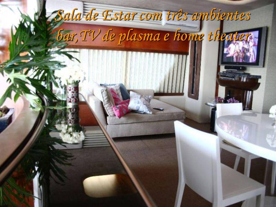 Sala de Estar com três ambientes bar,TV de plasma e home theater