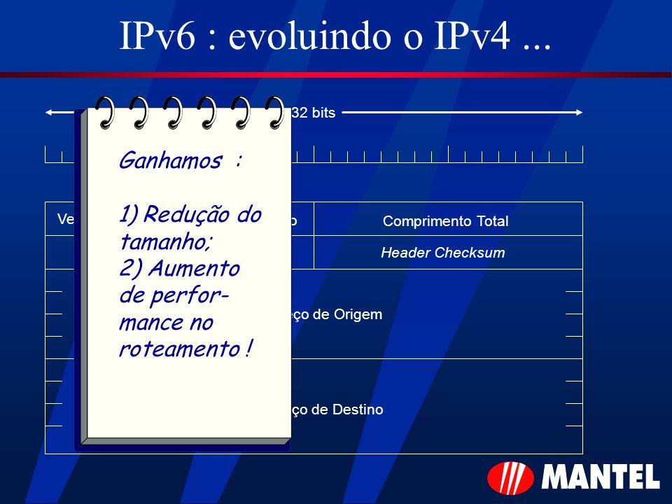 IPv6 : evoluindo o IPv4 ... Ganhamos : 1) Redução do tamanho;