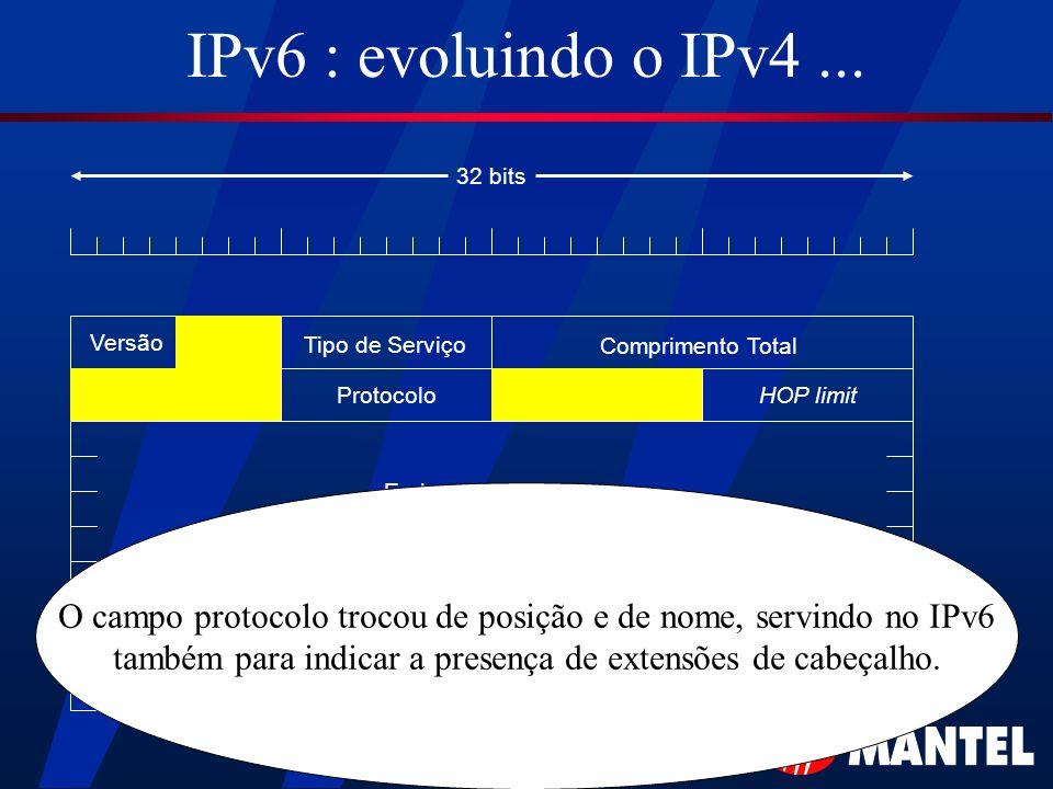 IPv6 : evoluindo o IPv4 ... 32 bits. Versão. Tipo de Serviço. Comprimento Total. Protocolo. HOP limit.