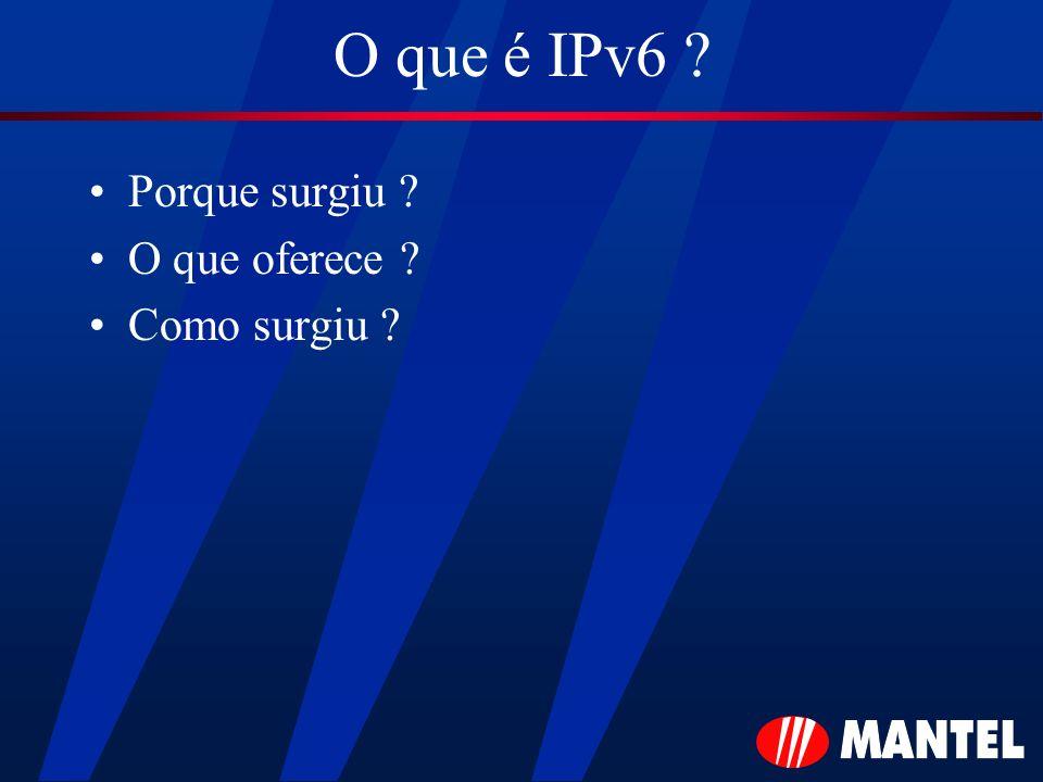 O que é IPv6 Porque surgiu O que oferece Como surgiu