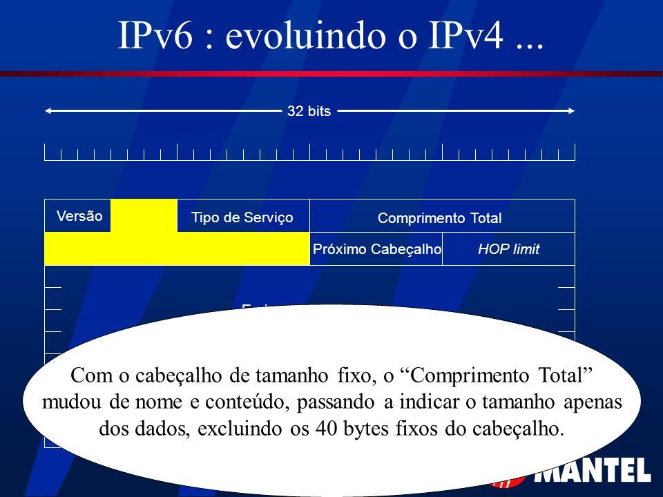 IPv6 : evoluindo o IPv4 ... 32 bits. Versão. Tipo de Serviço. Comprimento Total. Próximo Cabeçalho.
