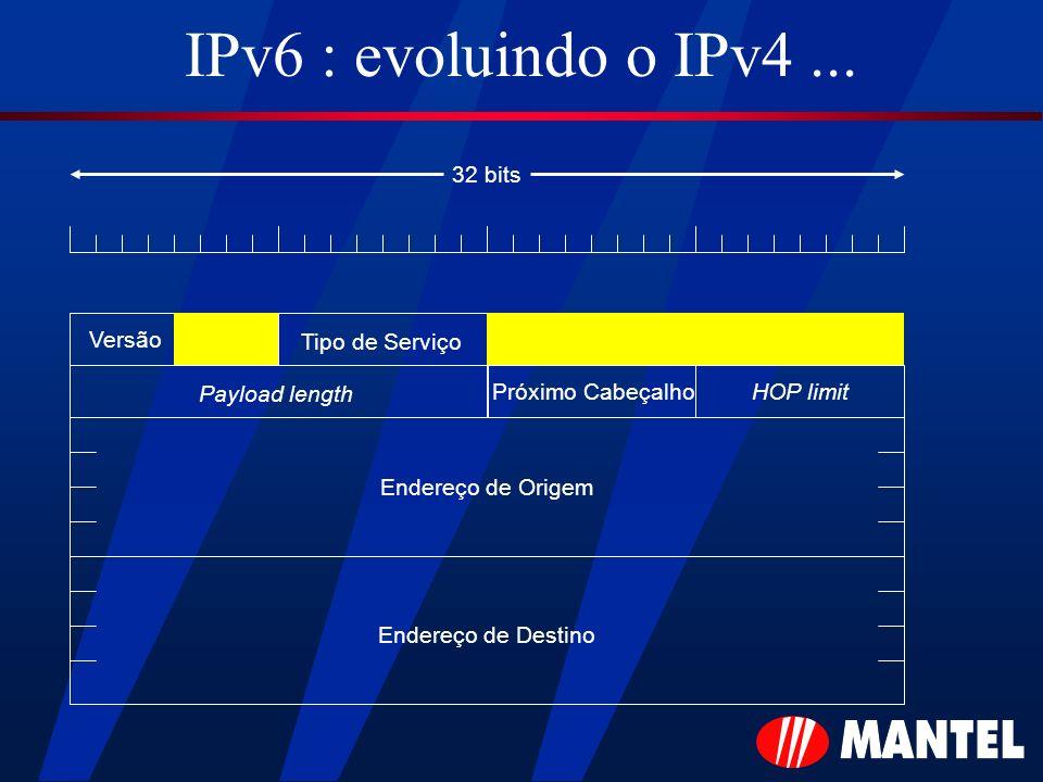IPv6 : evoluindo o IPv4 ... 32 bits Versão Tipo de Serviço