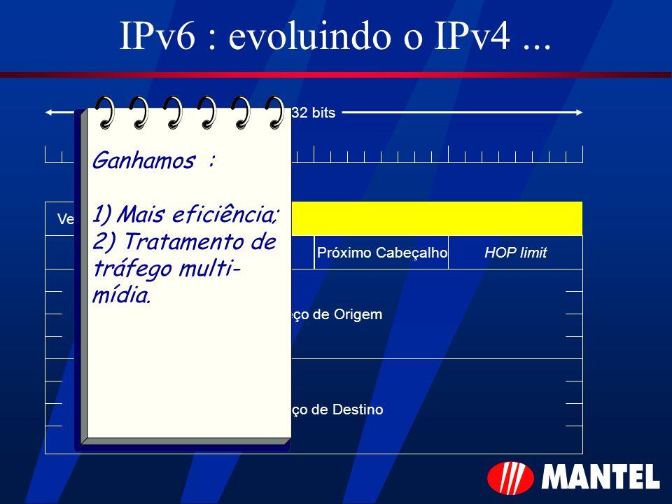 IPv6 : evoluindo o IPv4 ... Ganhamos : 1) Mais eficiência;