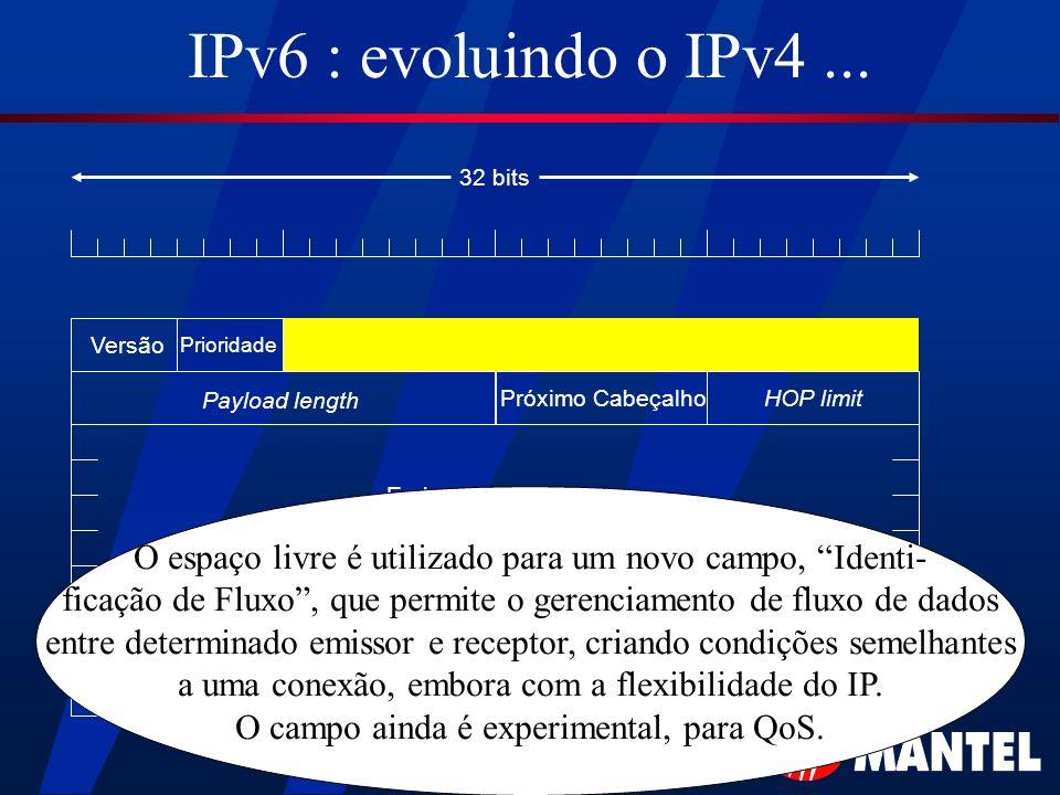IPv6 : evoluindo o IPv4 ... 32 bits. Versão. Prioridade. Payload length. Próximo Cabeçalho. HOP limit.