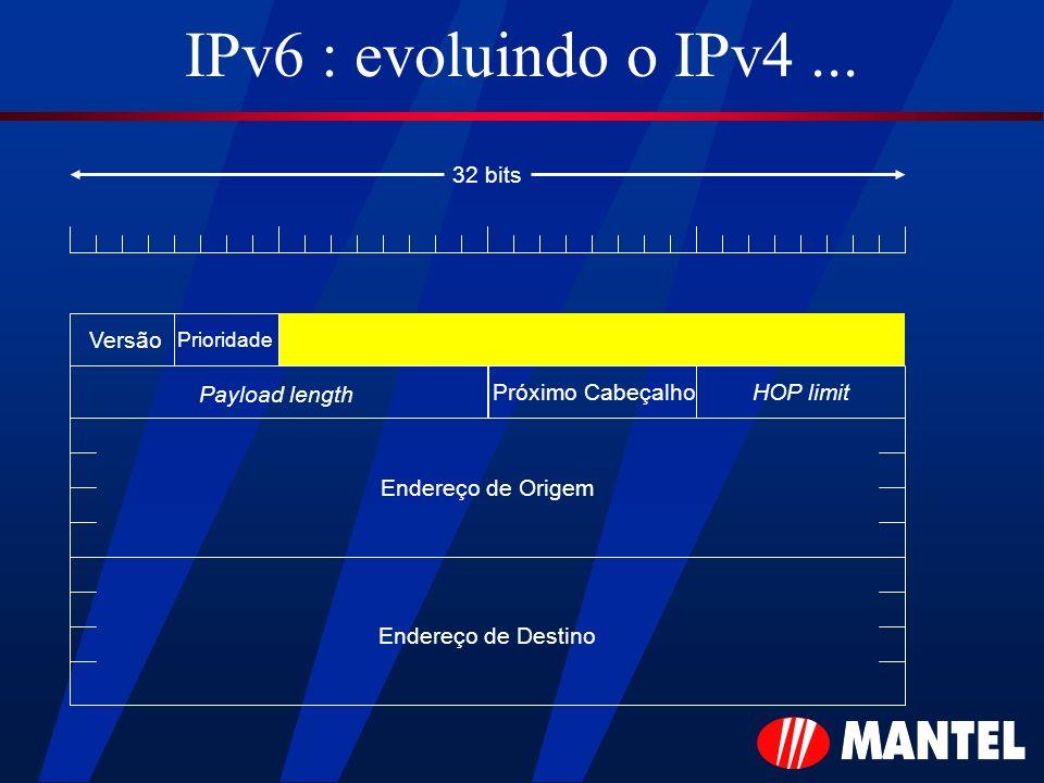 IPv6 : evoluindo o IPv4 ... 32 bits Versão Payload length