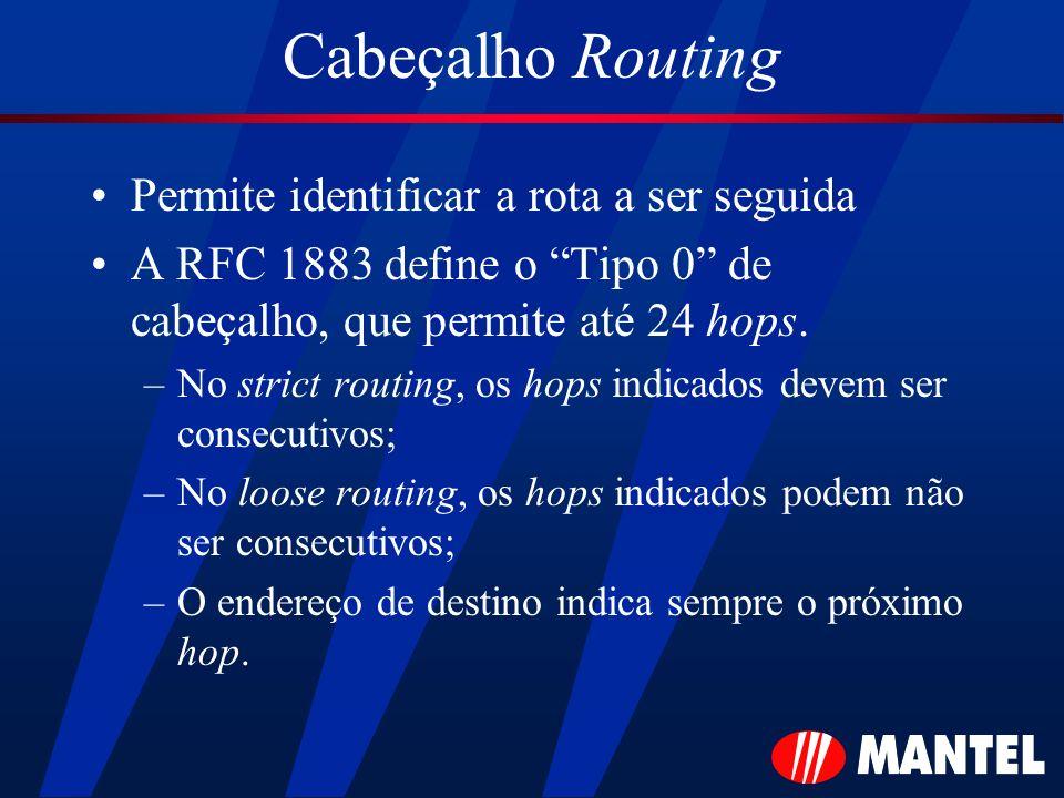 Cabeçalho Routing Permite identificar a rota a ser seguida