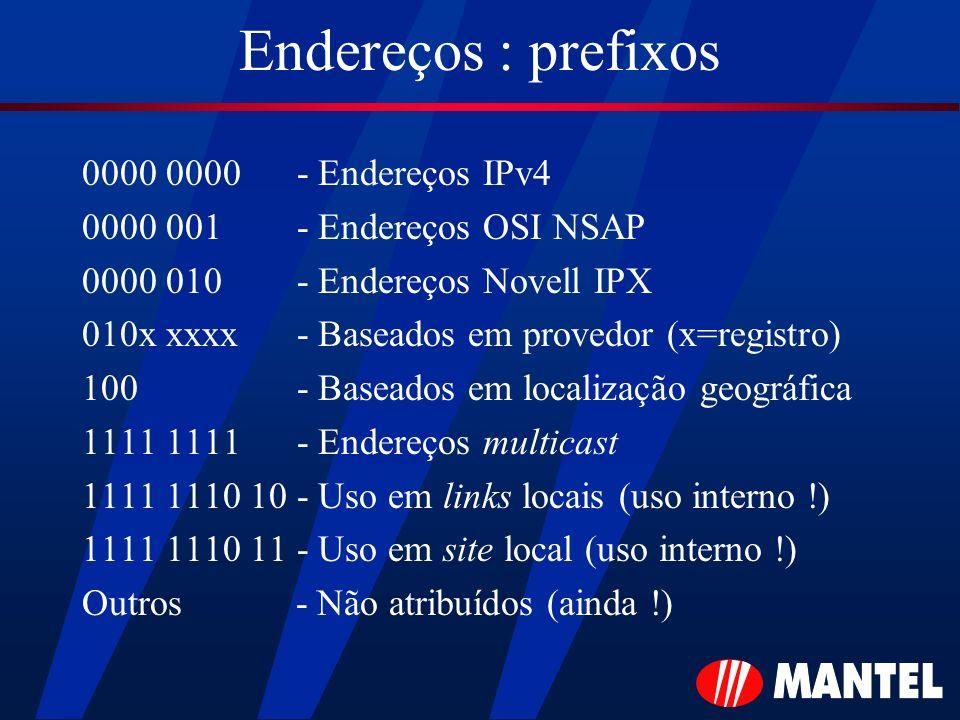 Endereços : prefixos 0000 0000 - Endereços IPv4
