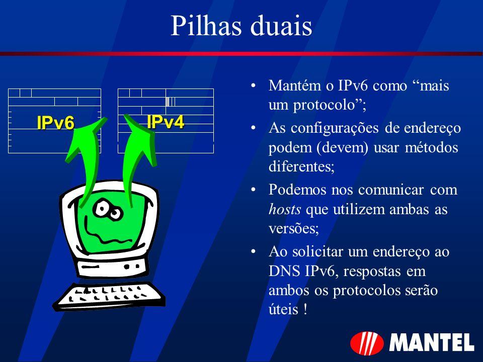 Pilhas duais IPv6 IPv4 Mantém o IPv6 como mais um protocolo ;