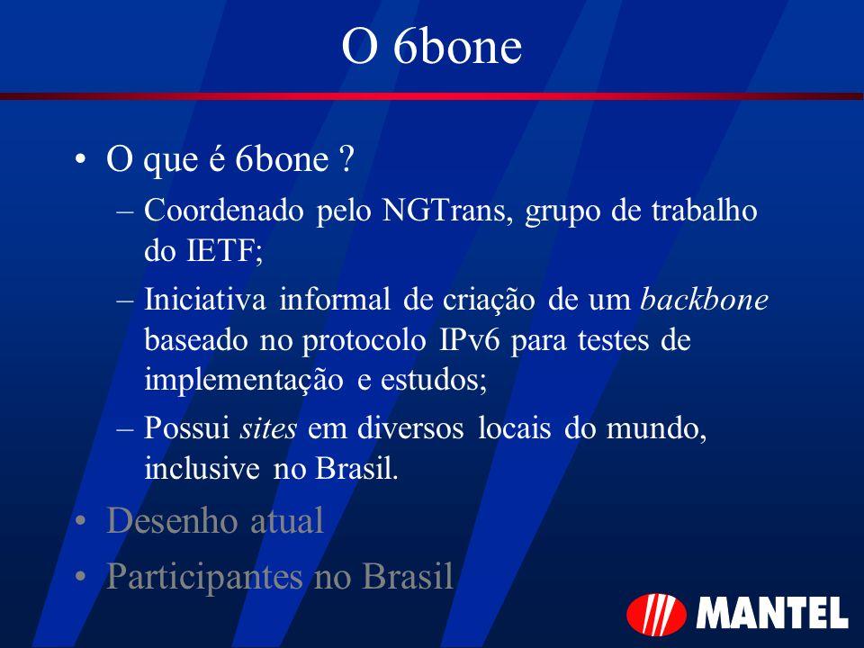 O 6bone O que é 6bone Desenho atual Participantes no Brasil