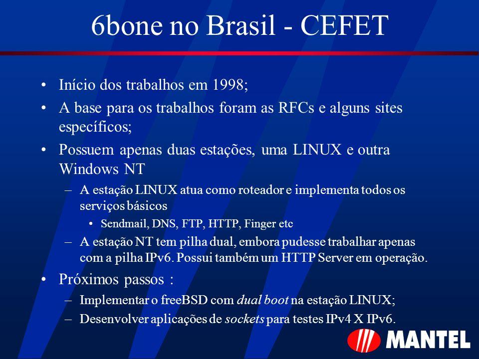 6bone no Brasil - CEFET Início dos trabalhos em 1998;