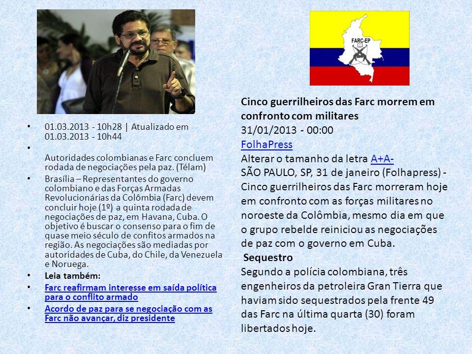 Cinco guerrilheiros das Farc morrem em confronto com militares