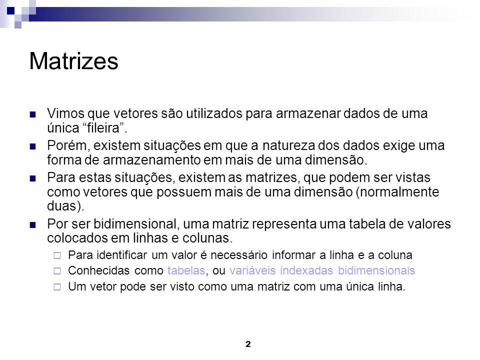 Matrizes Vimos que vetores são utilizados para armazenar dados de uma única fileira .