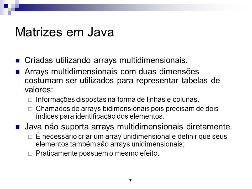 Matrizes em Java Criadas utilizando arrays multidimensionais.