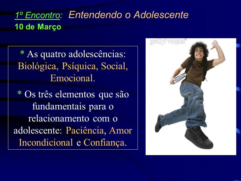* As quatro adolescências: Biológica, Psíquica, Social, Emocional.